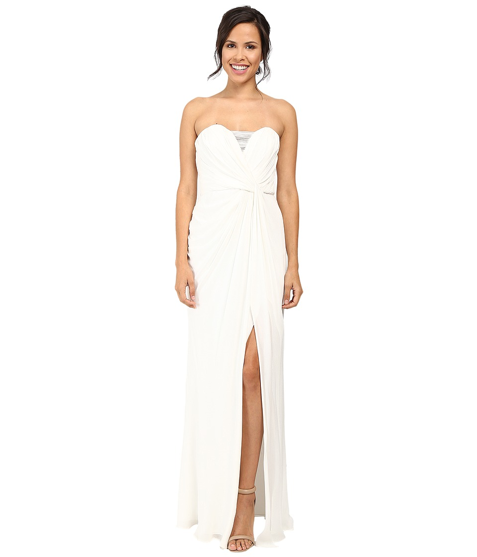 Badgley Mischka Strapless Asymmetrical Draped Gown Ivory Dress