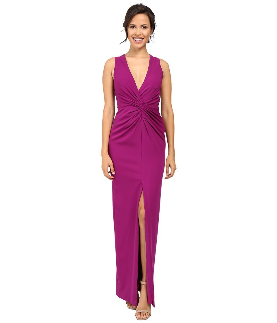 Badgley Mischka - Deep V Twist Front Gown (Orchid) Women's Dress