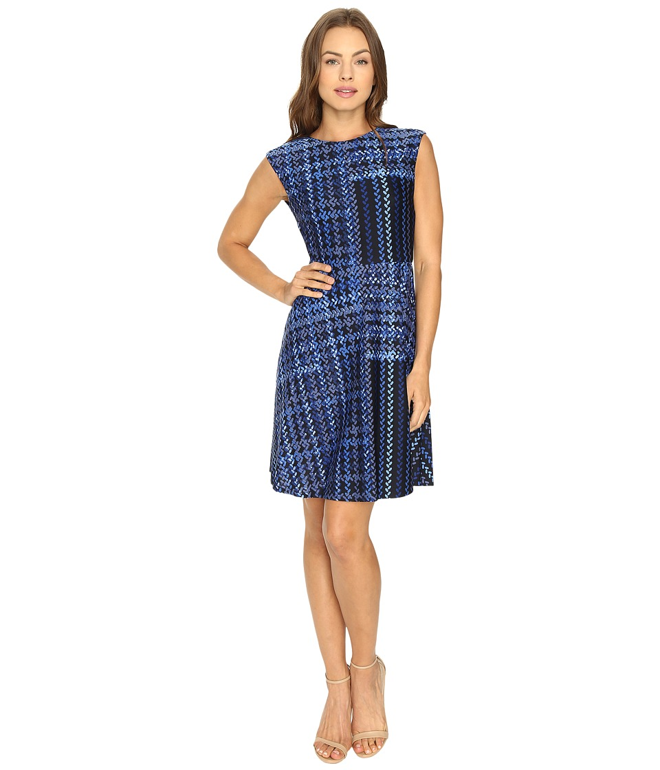 Donna Morgan - Cap Sleeve Fit Flare (Marine Navy) Women's Dress
