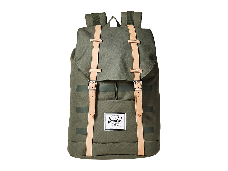 Herschel Supply Co. - Retreat (Deep Lichen Green Stripe/Veggie Tan Leather) Backpack Bags