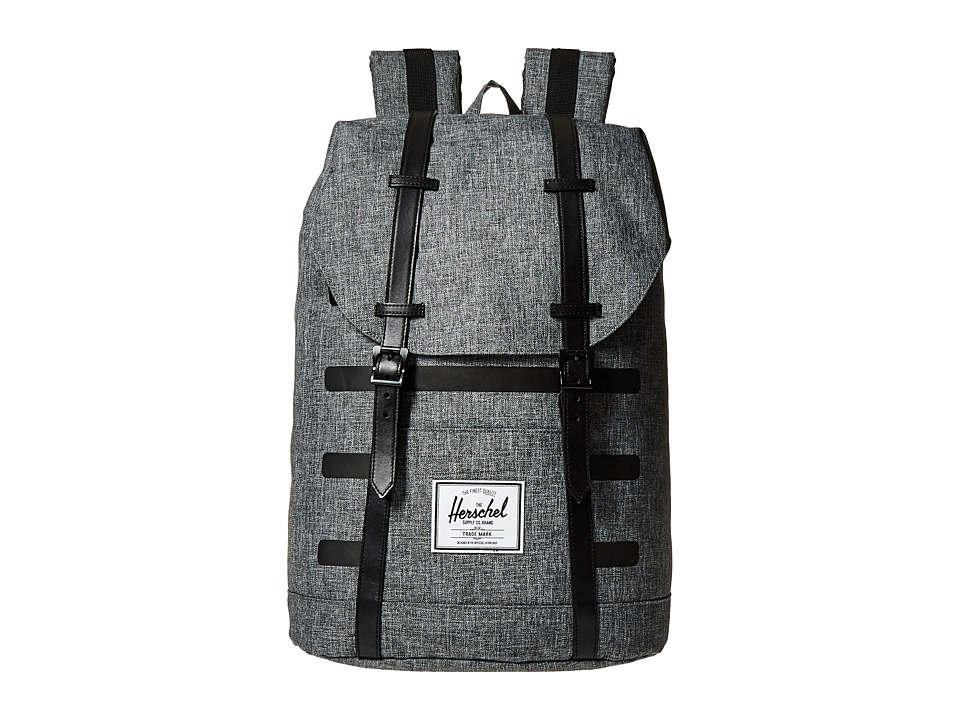Herschel Supply Co. - Retreat (Raven Crosshatch Stripe/Black Veggie Tan Leather) Backpack Bags