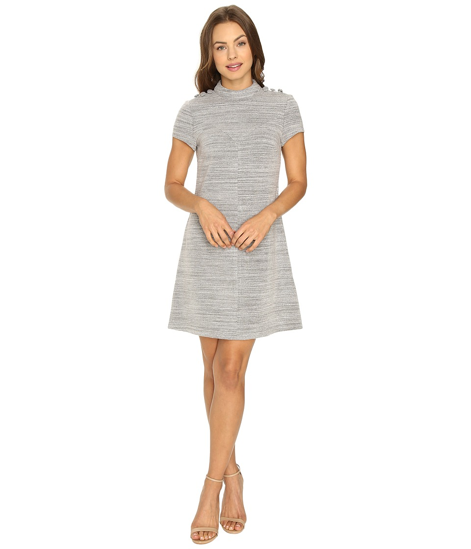 Donna Morgan - Knit High Neck Dress w/ Button (Grey Heath) Women's Dress