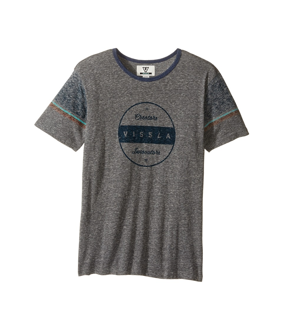 VISSLA Kids - Striker Short Sleeve Tri-Blend Crew Knit (Big Kids) (Dark Grey Heather) Boy's Clothing