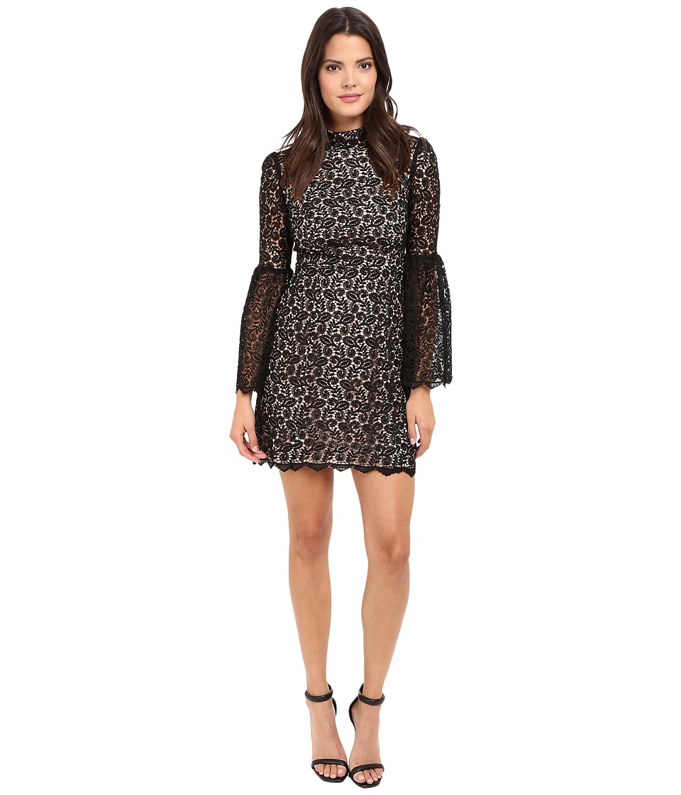 JILL JILL STUART - Venice Lace Short Dress with High Neck and Long Sleeves (Black) Women's Dress