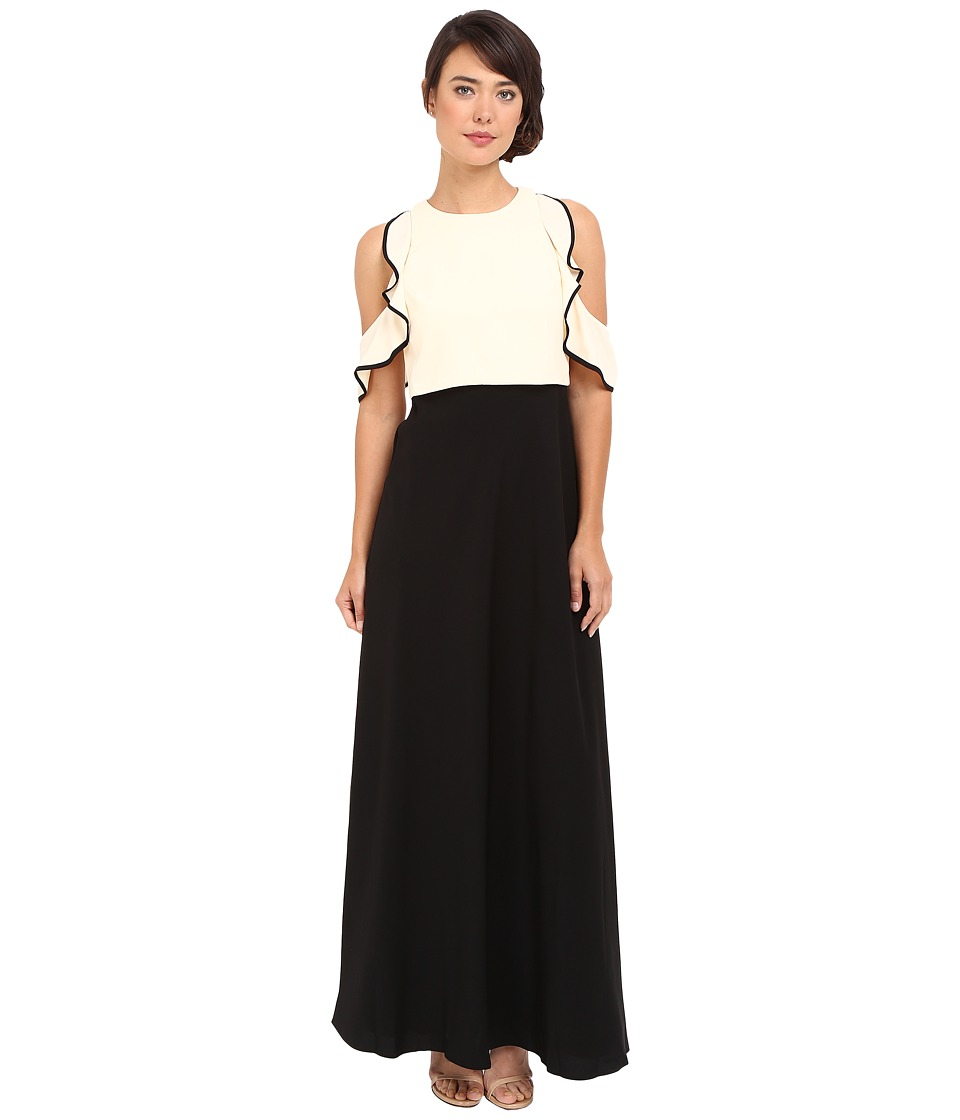 JILL JILL STUART Color Block Popover Gown with Cold Shoulder Bisque-Black Dress