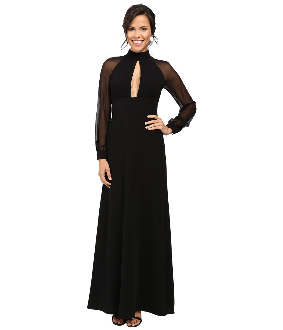 JILL JILL STUART - Crepe/Chiffon Gown with Long Sleeves and Keyhole (Black) Women's Dress