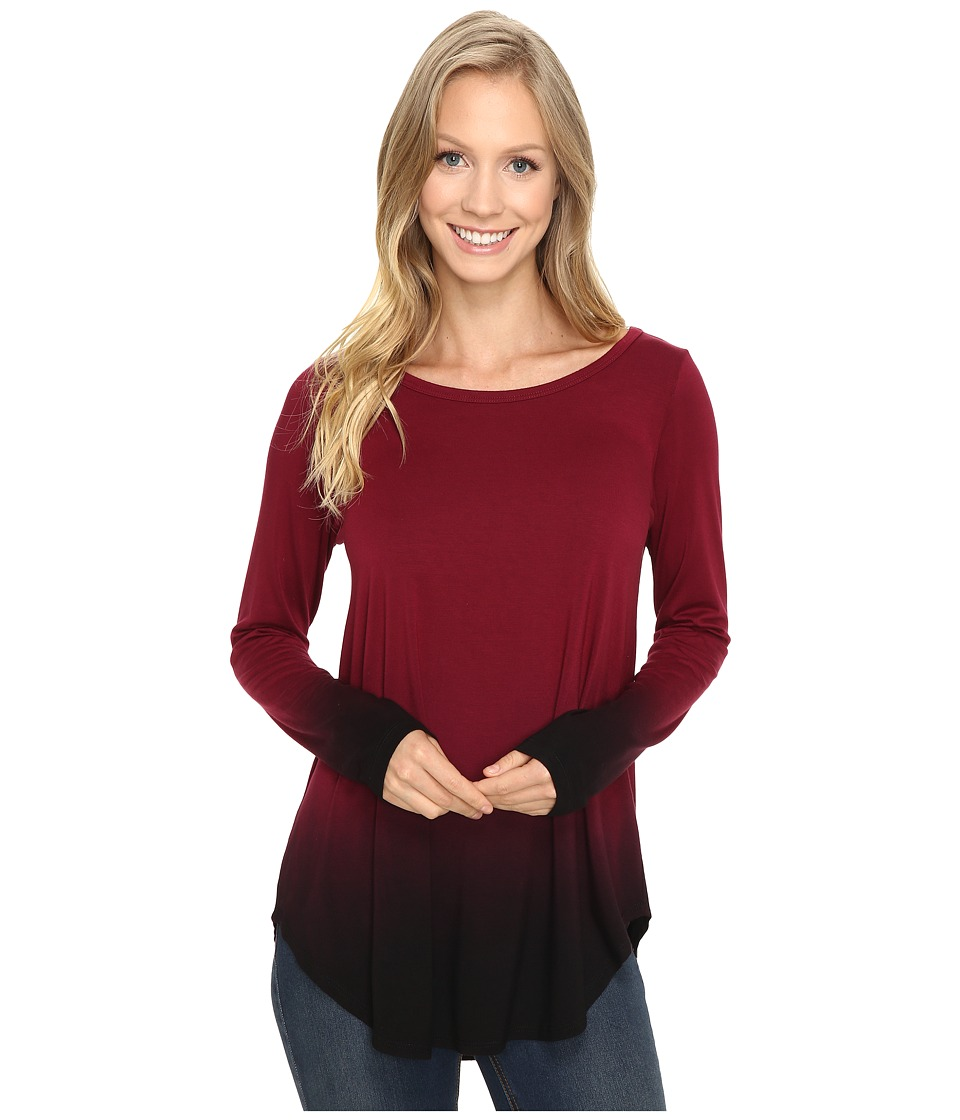 Karen Kane Long Sleeve Ombre Dye Tee (Wine) Women