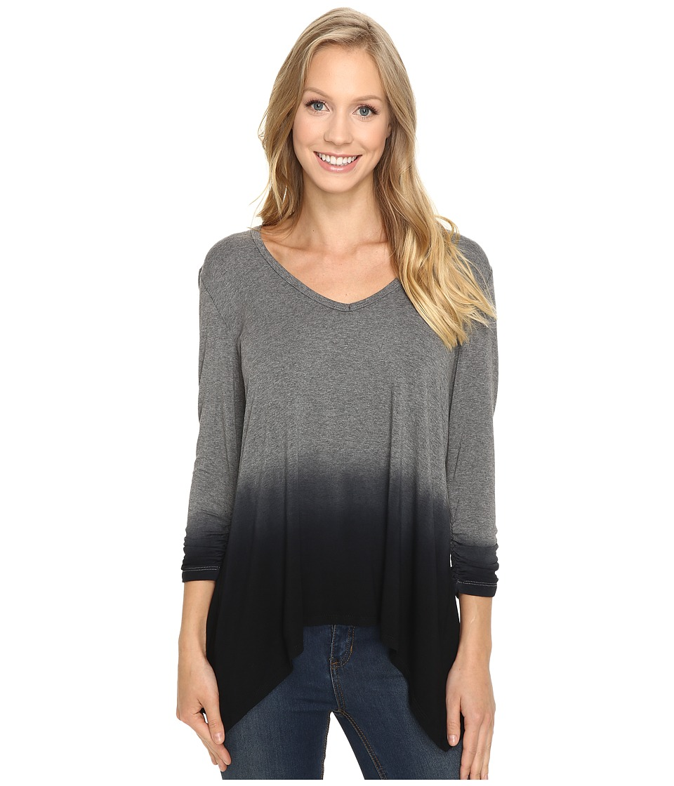 Karen Kane Ruched Sleeve Ombre Dye Tee (Heather) Women