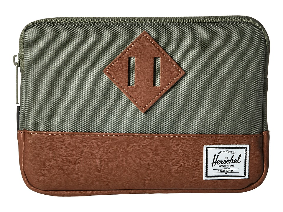Herschel Supply Co. - Heritage Sleeve For iPad Mini (Deep Lichen Green/Tan Synthetic Leather) Computer Bags