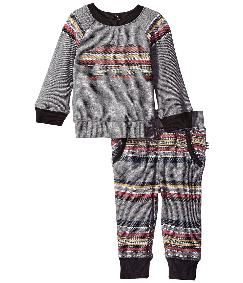 Splendid Littles - Long Sleeve Raglan with Stripe Pants Set (Infant) (Charcoal Grey Heather) Boy's Active Sets