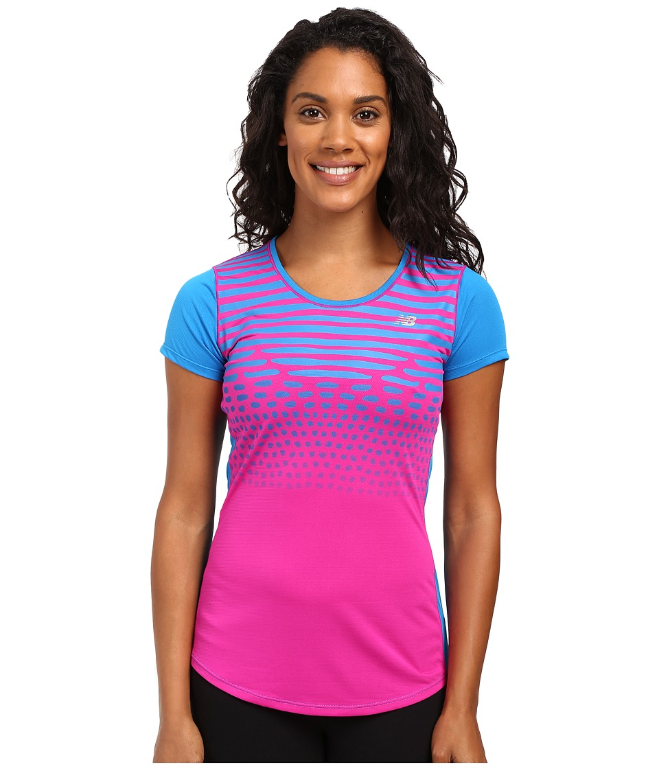 New Balance - Accelerate Short Sleeve Graphic Top (Sonar/Multi) Women's Short Sleeve Pullover