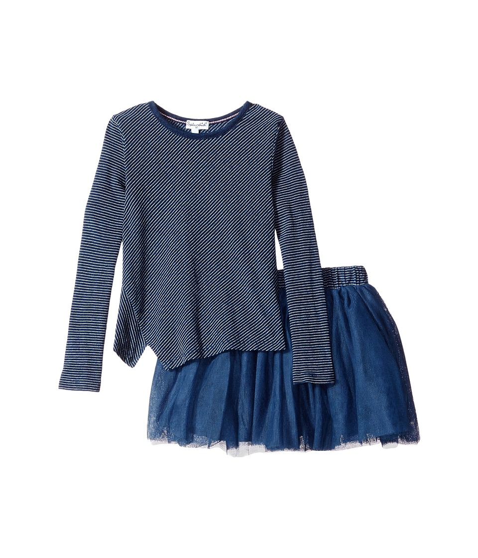 Splendid Littles - Indigo Tutu Dress Stripe Print (Toddler) (Dark Stone Stripe) Girl's Pajama Sets