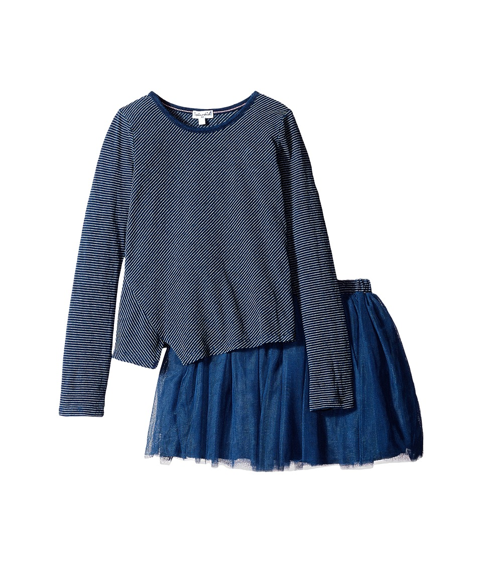 Splendid Littles - Indigo Tutu Dress Stripe Print (Little Kids) (Dark Stone Stripe) Girl's Pajama Sets
