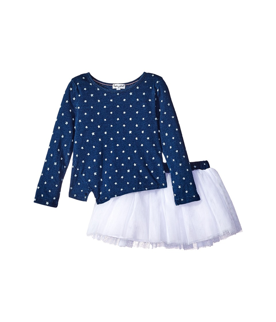 Splendid Littles - Indigo Tutu Dress Star Print (Toddler) (Dark Stone Star) Girl's Active Sets