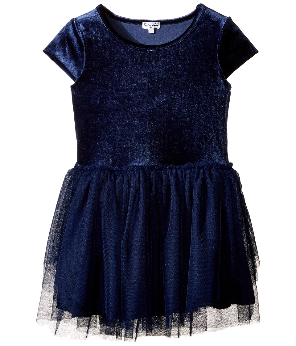 Splendid Littles - Velour with Triple Mesh Dress (Little Kids) (Navy) Girl's Dress