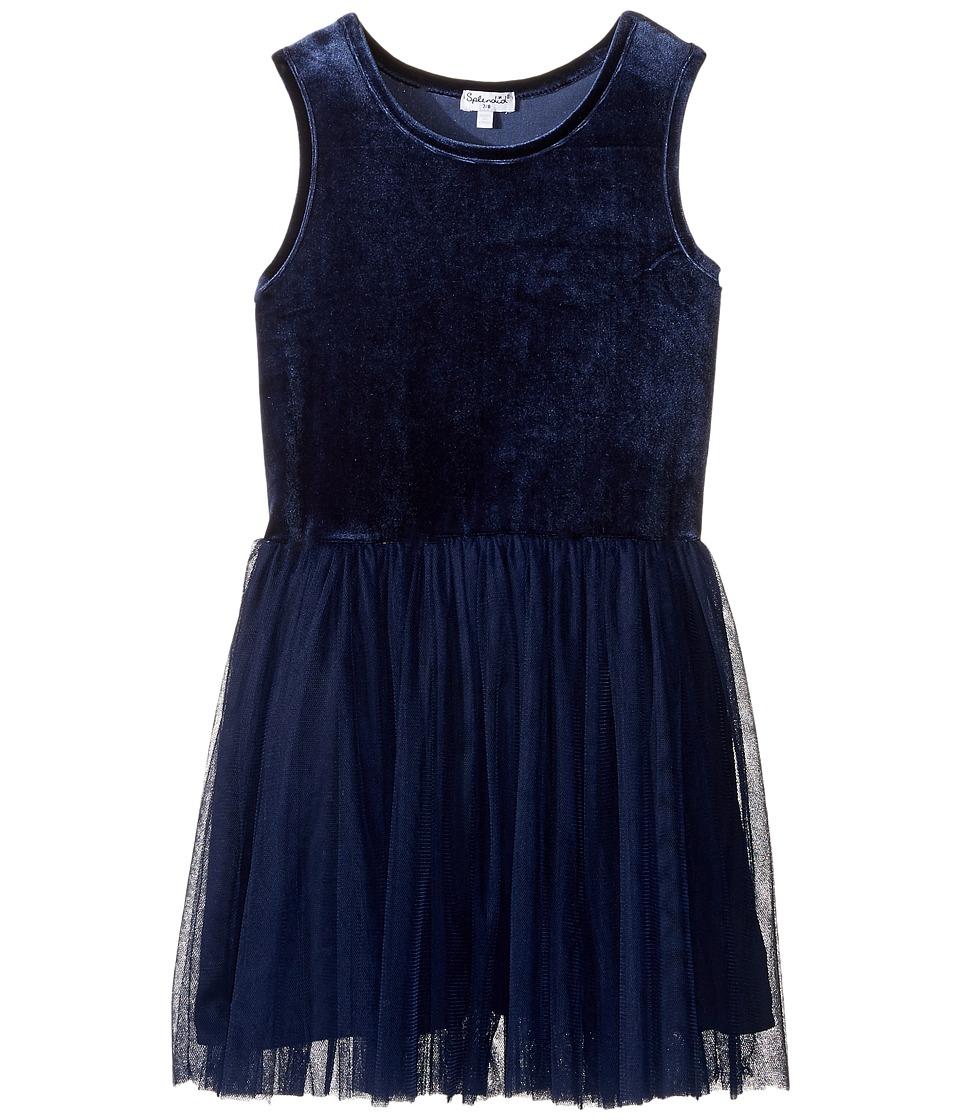 Splendid Littles - Velour with Triple Mesh Dress (Big Kids) (Navy) Girl's Dress