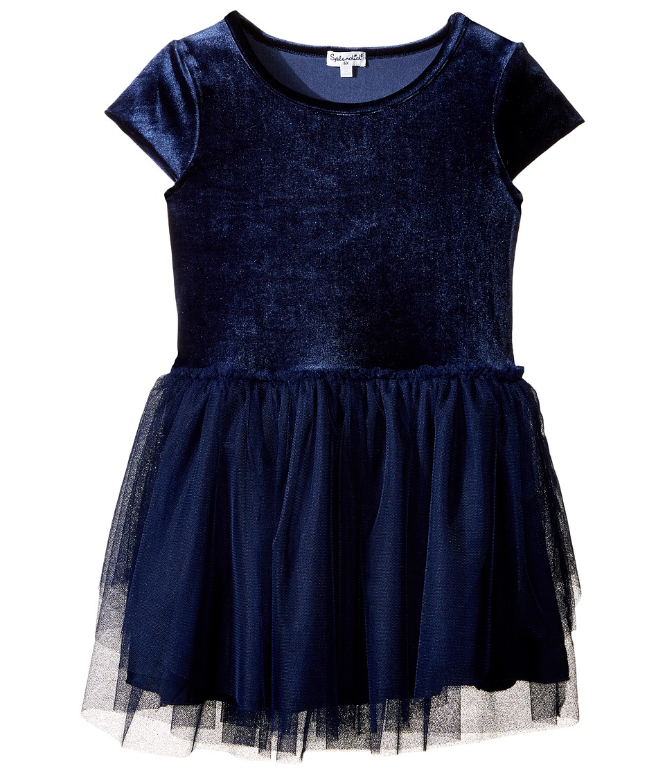 Splendid Littles - Velour with Triple Mesh Dress (Toddler) (Navy) Girl's Dress