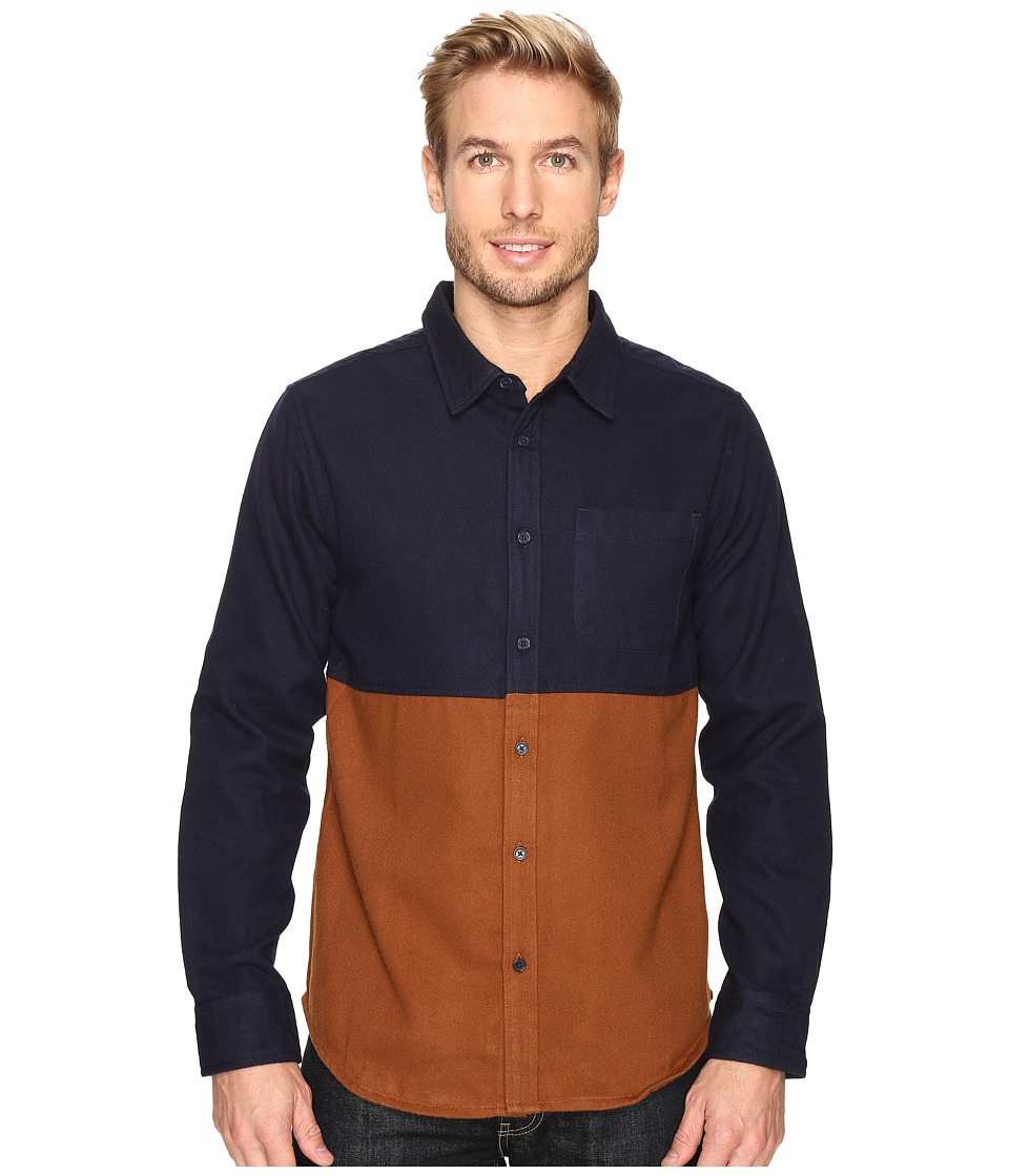 United By Blue - Banff Color Block Wool Shirt (Navy/Brown) Men's Clothing