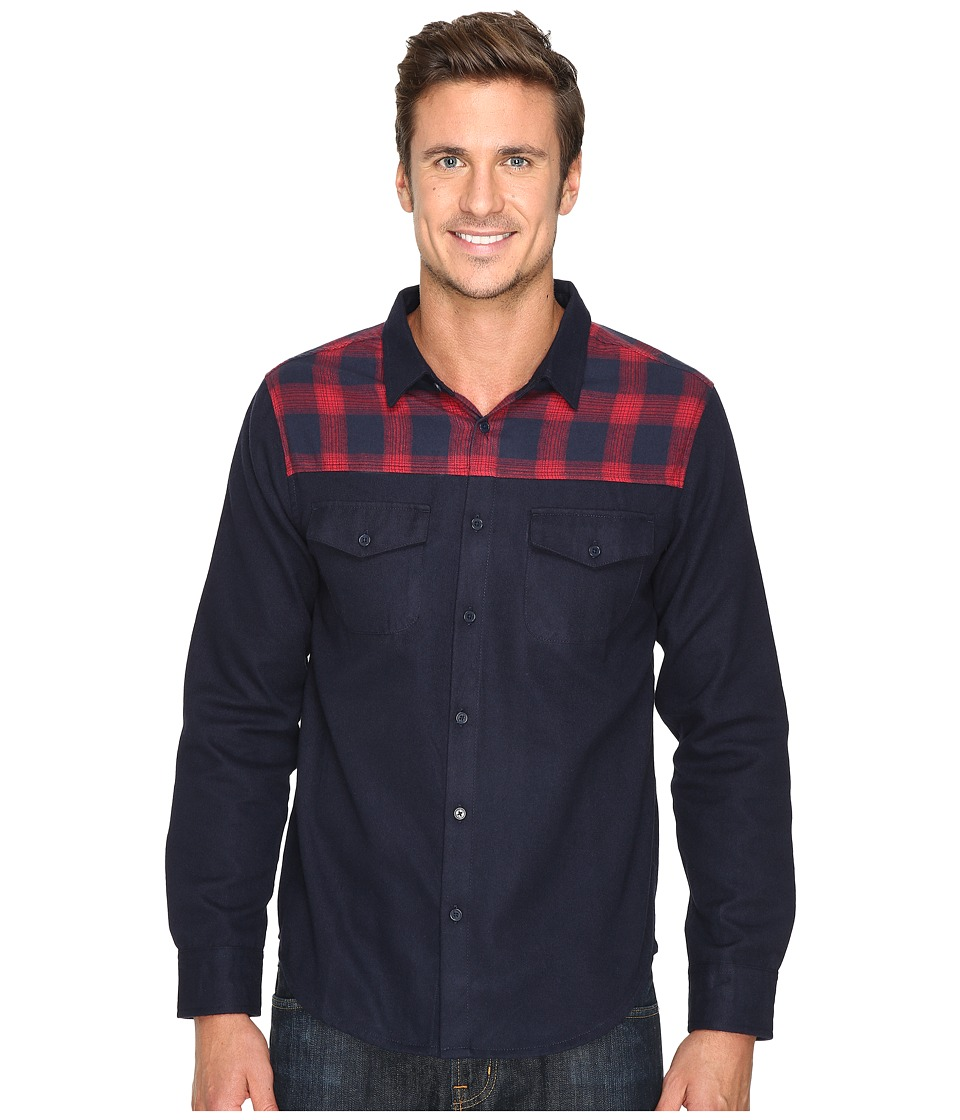 United By Blue - Banff Wool Shirt with Plaid Trim (Navy/Red Plaid) Men's Clothing