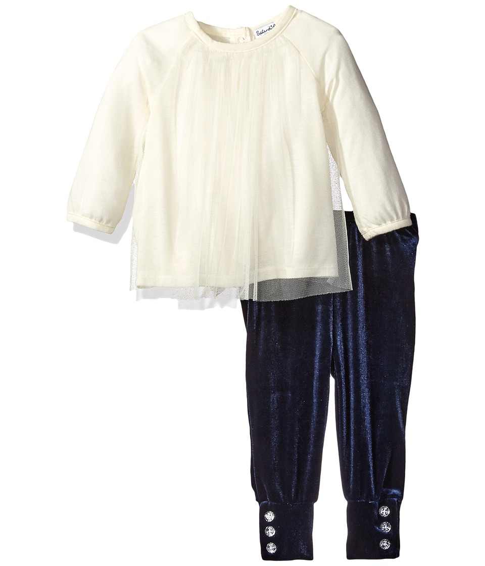 Splendid Littles - Jersey with Triple Mesh Set (Infant) (Off-White) Girl's Active Sets