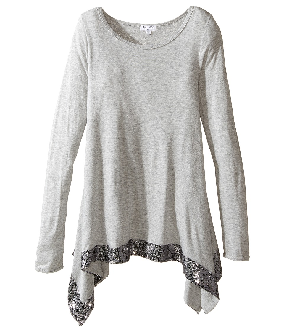 Splendid Littles - Long Sleeve Knit Top with Sequin Trim (Big Kids) (Grey Heather) Girl's Clothing