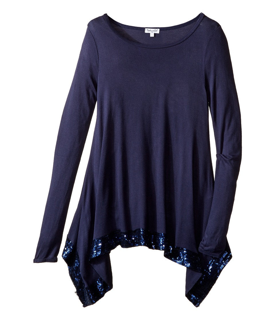 Splendid Littles - Long Sleeve Knit Top with Sequin Trim (Big Kids) (Navy) Girl's Clothing