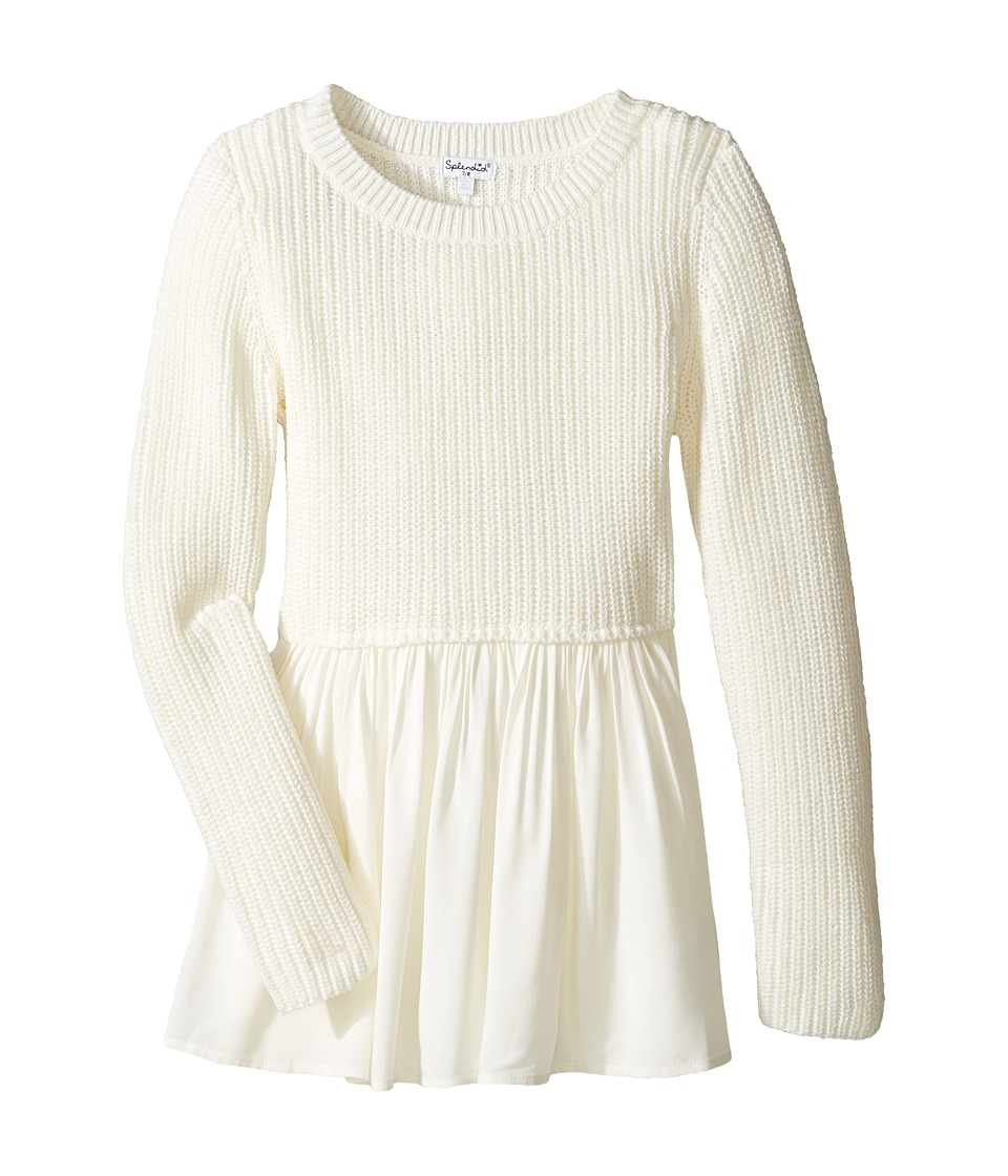 Splendid Littles - Long Sleeve Sweater Woven Tunic (Big Kids) (Off-White) Girl's Sweater