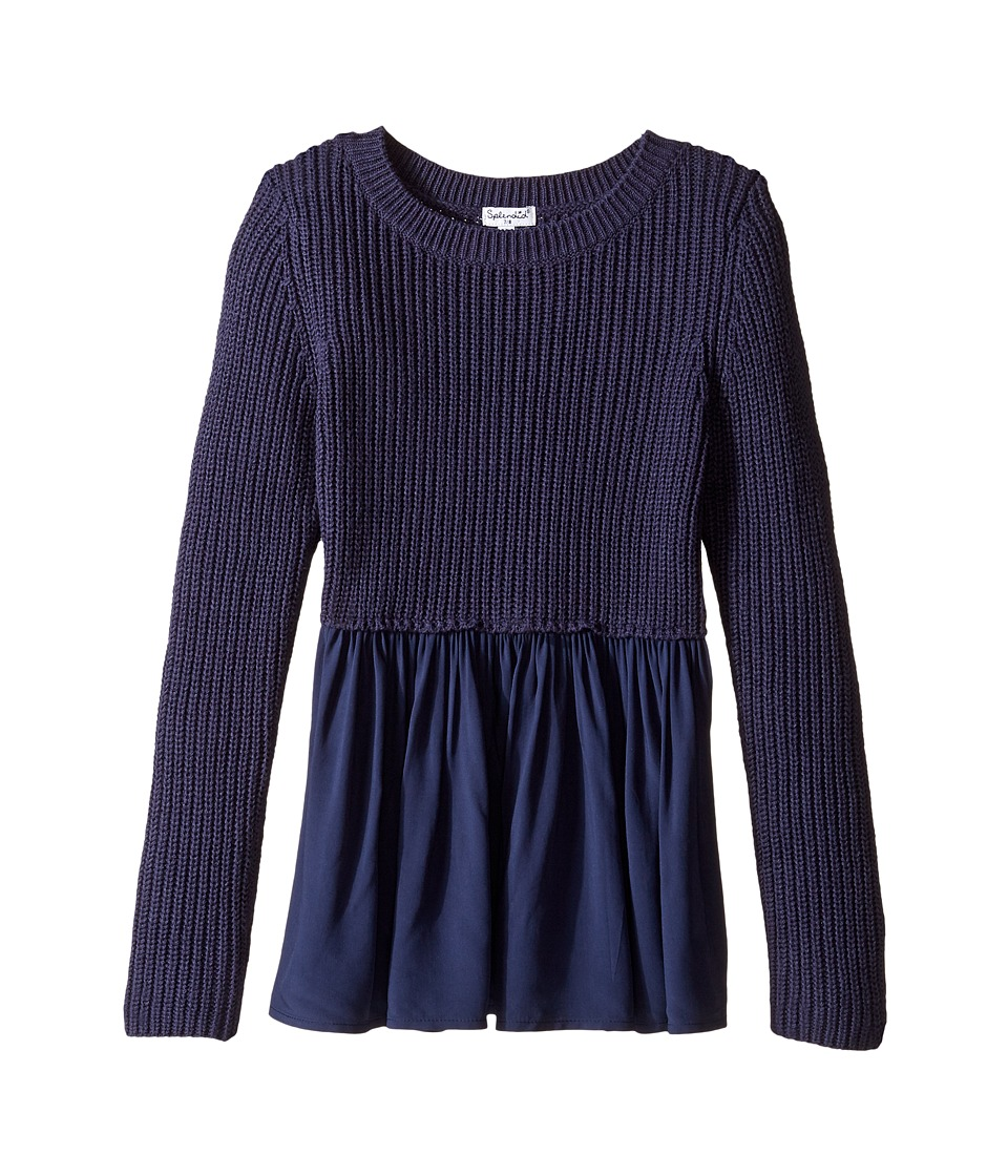 Splendid Littles - Long Sleeve Sweater Woven Tunic (Big Kids) (Navy) Girl's Sweater