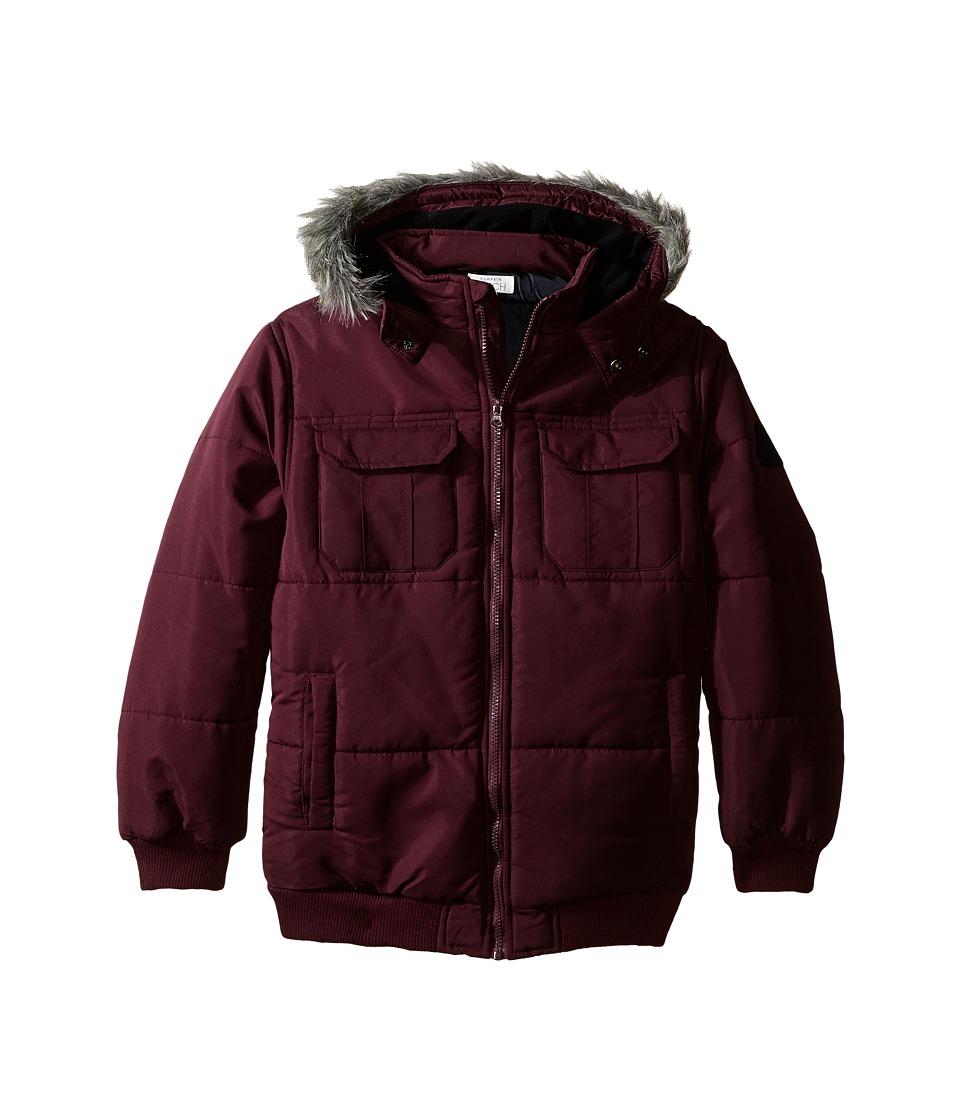 Pumpkin Patch Kids - Faux Fur Hood Trim Jacket (Big Kids) (Black Cherry) Boy's Coat