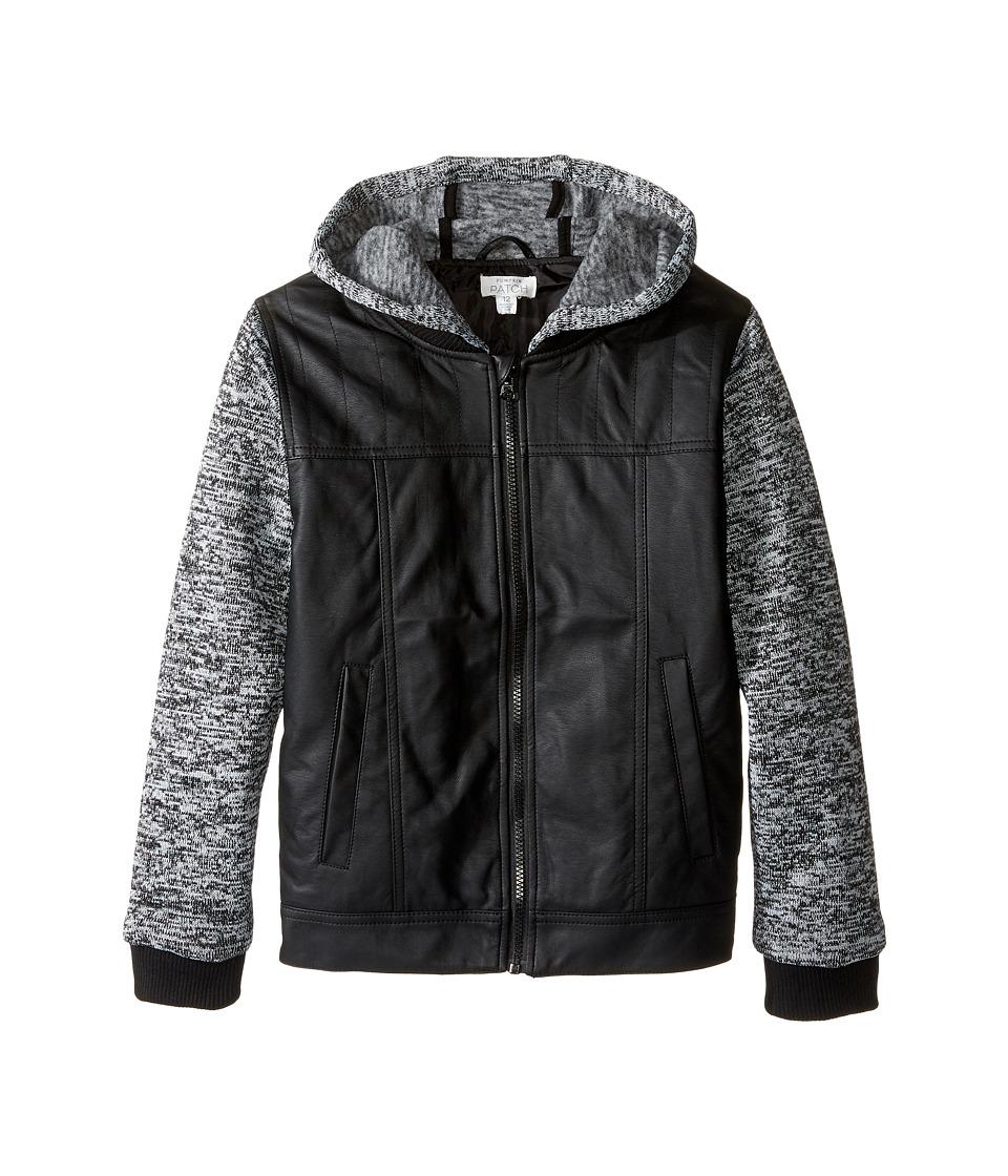 Pumpkin Patch Kids - Hooded PU Jacket (Big Kids) (Caviar) Boy's Coat
