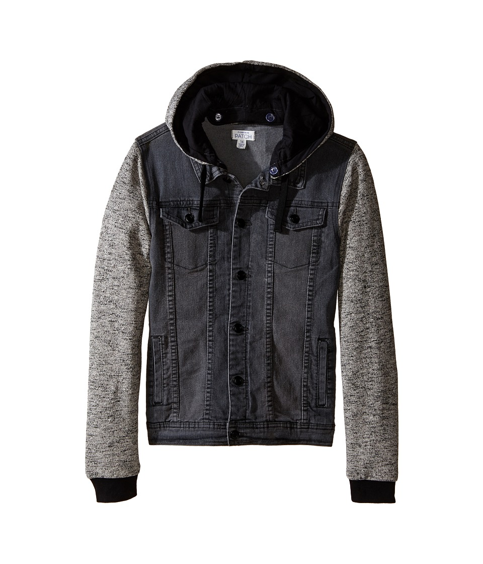 Pumpkin Patch Kids - Black Denim Hooded Jacket (Big Kids) (Grey Denim) Boy's Coat