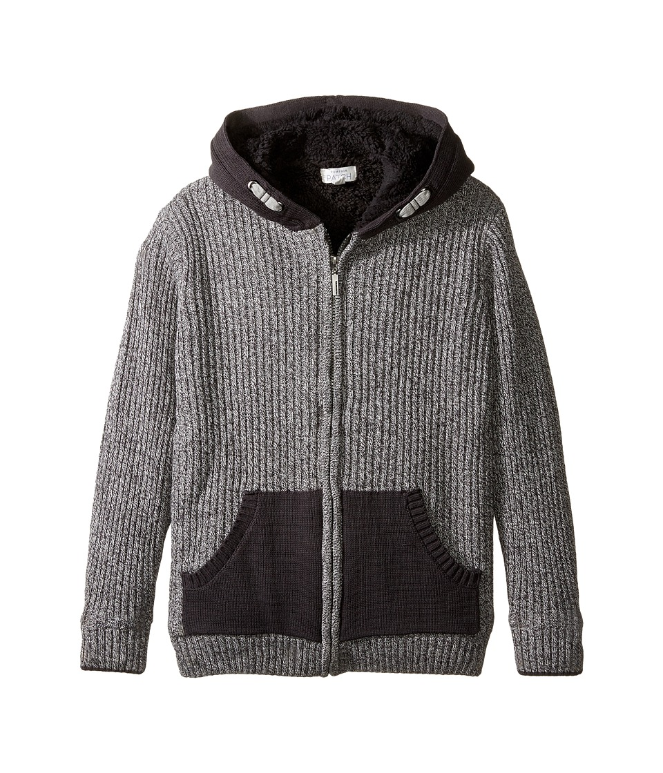Pumpkin Patch Kids - Rib Lined Zip Front Cardigan (Big Kids) (Charcoal Marle) Boy's Sweater