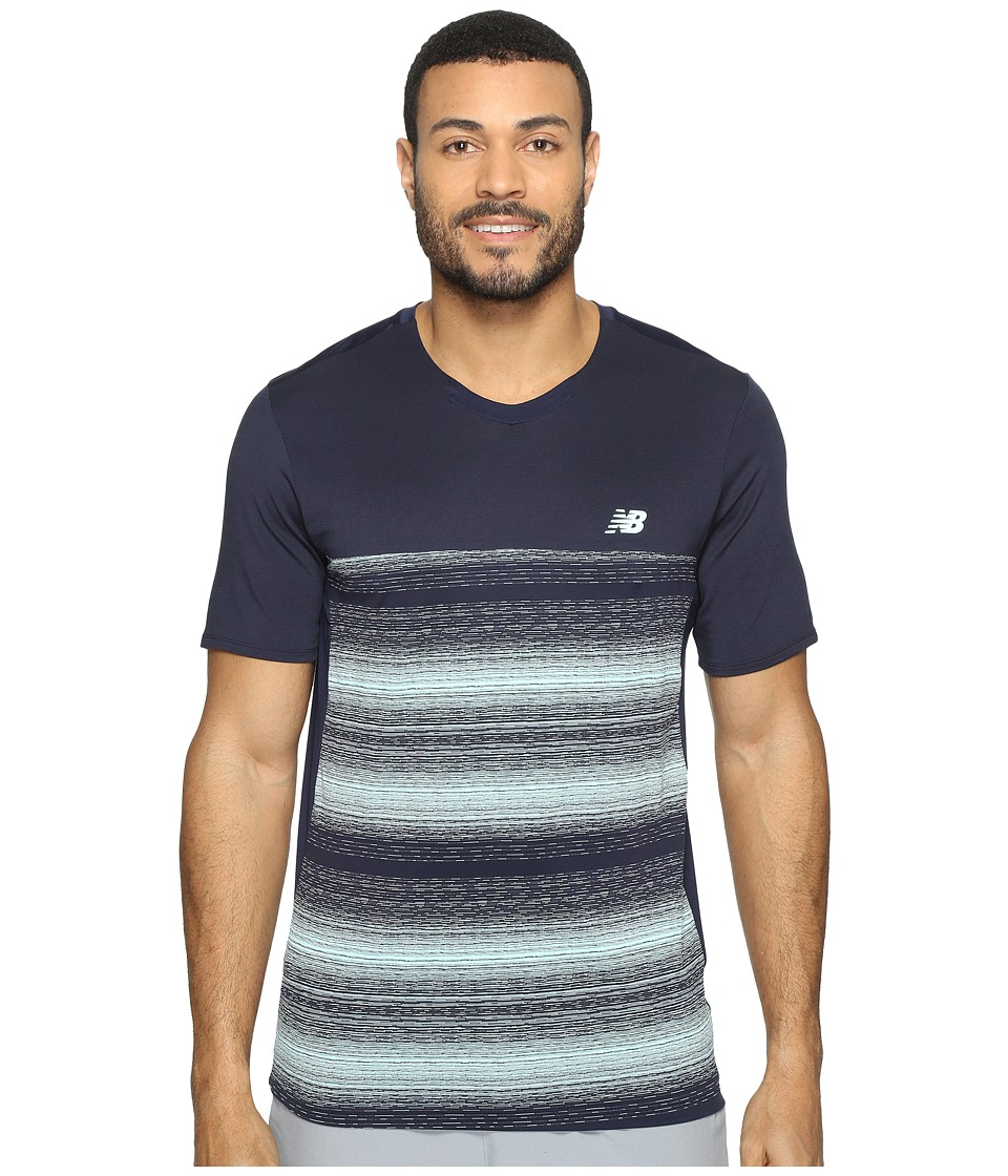 New Balance - Yarra Crew (Pigment/White) Men's Short Sleeve Pullover