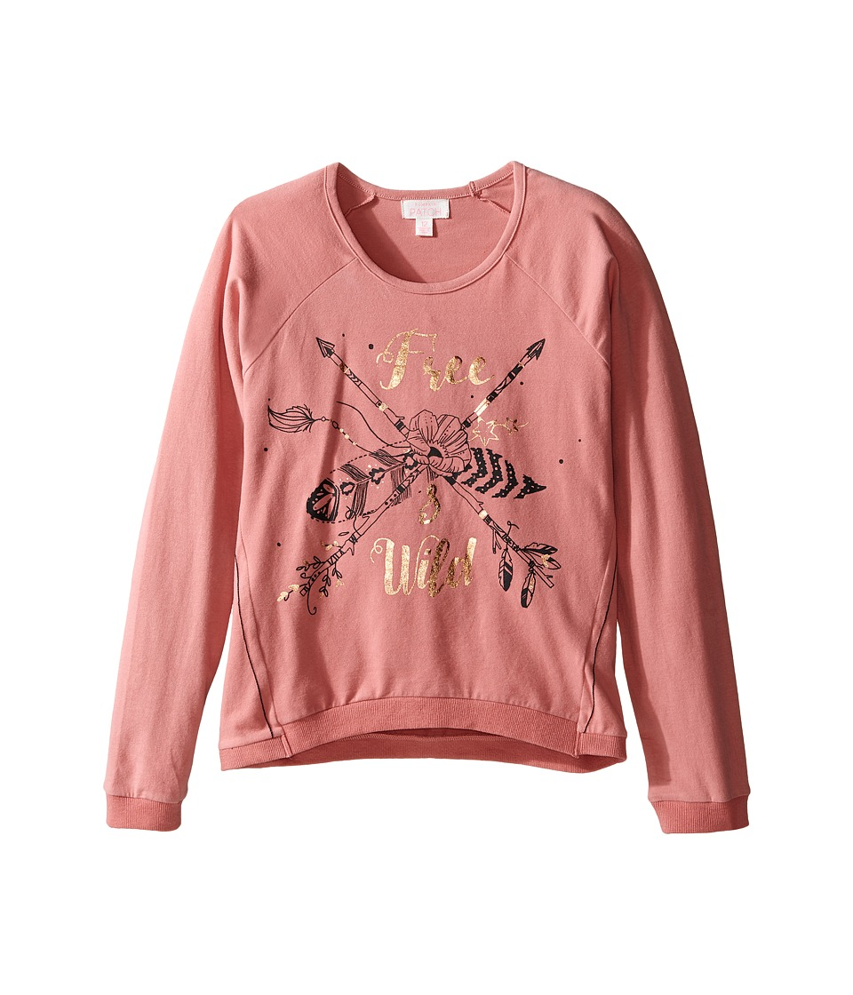 Pumpkin Patch Kids - Feather Graphic Tee (Little Kids/Big Kids) (Dusty Rose) Girl's T Shirt