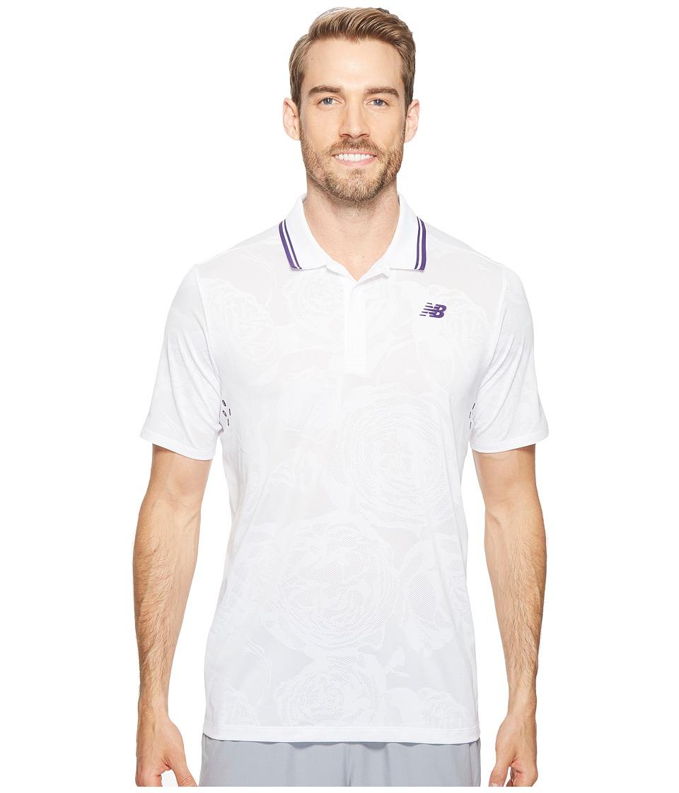 New Balance - English Rose Polo (White) Men's Short Sleeve Button Up