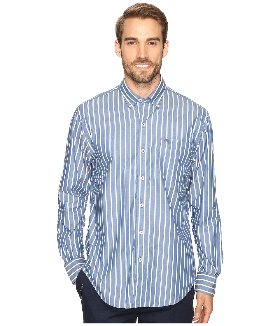 Tommy Bahama - Cabana Stripe Long Sleeve Woven Shirt (Bering Blue) Men's Long Sleeve Button Up