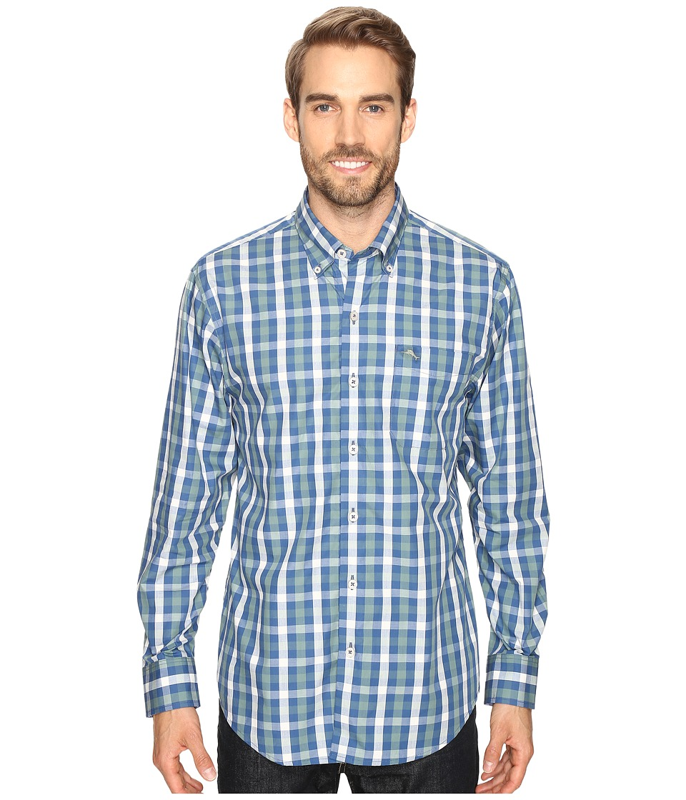 Tommy Bahama - Tudo Check Long Sleeve Woven Shirt (Bering Blue) Men's Long Sleeve Button Up