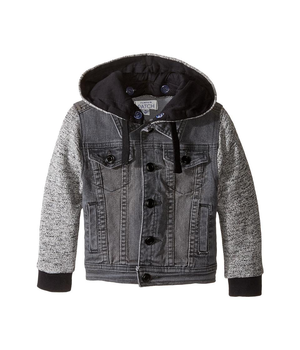 Pumpkin Patch Kids - Black Denim Hooded Jacket (Infant/Toddler/Little Kids) (Caviar) Boy's Coat