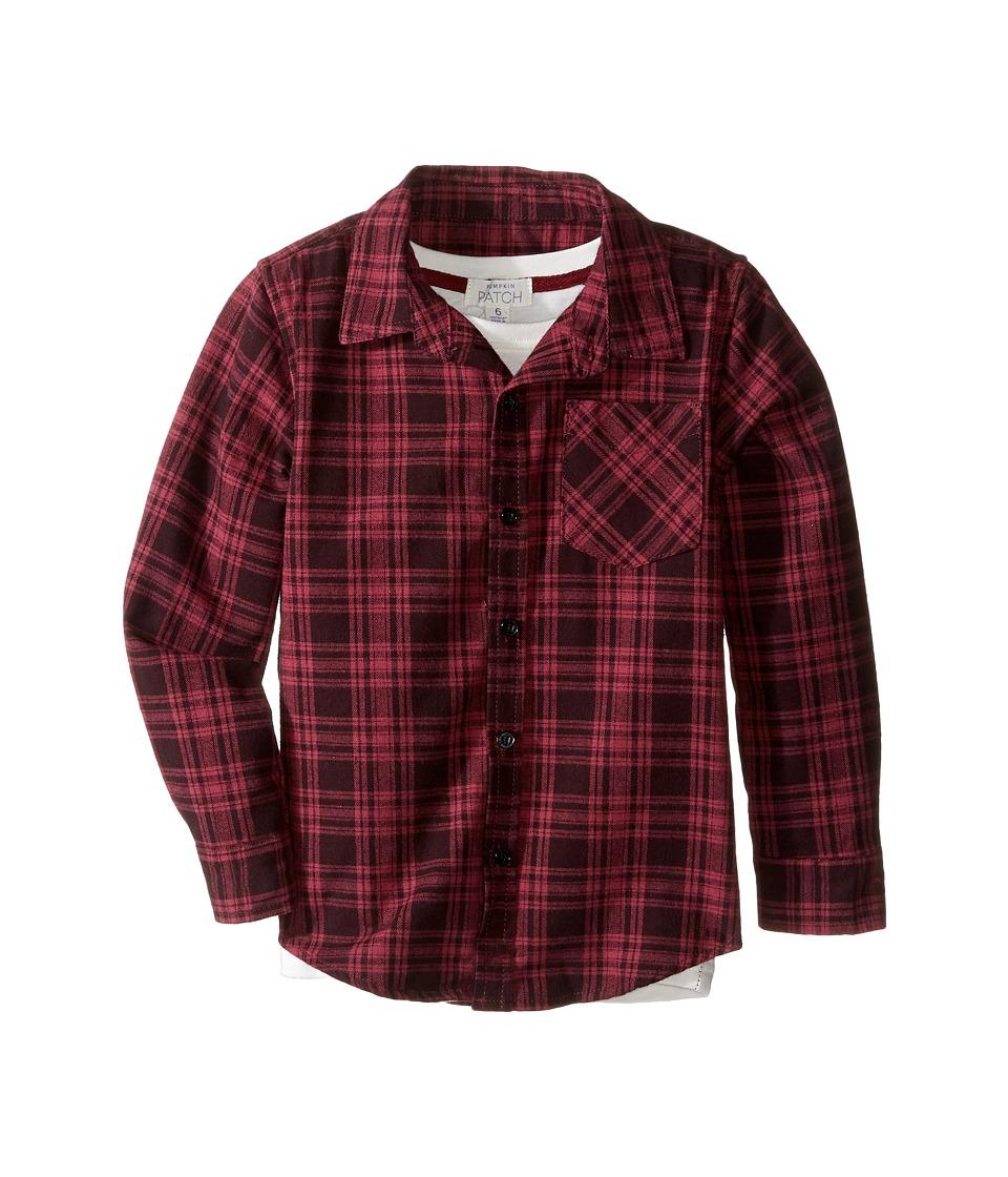 Pumpkin Patch Kids - Check Shirt with Mock Tee (Infant/Toddler/Little Kids/Big Kids) (Zinfandel) Boy's T Shirt
