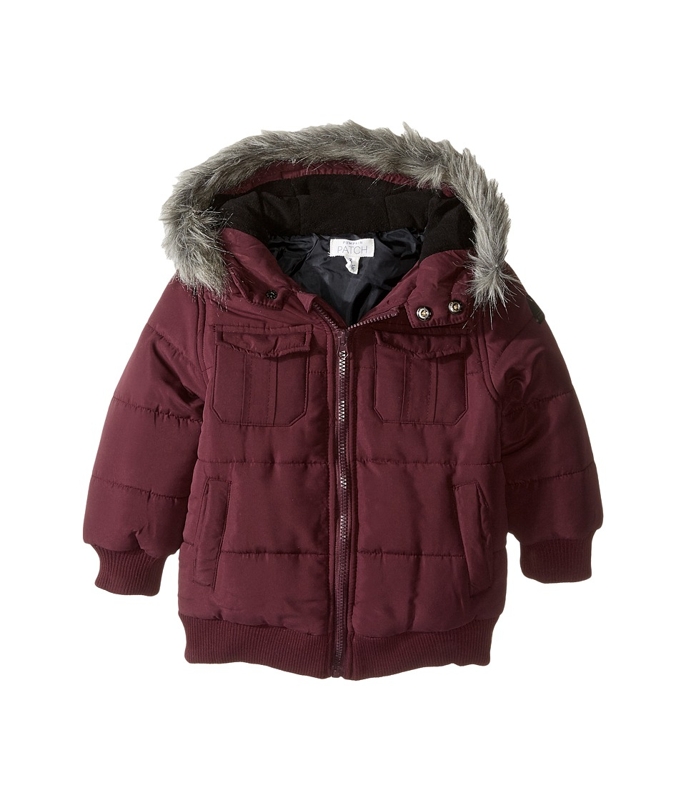 Pumpkin Patch Kids - Fur Trim Puffer Jacket (Infant/Toddler/Little Kids) (Black Cherry) Boy's Coat