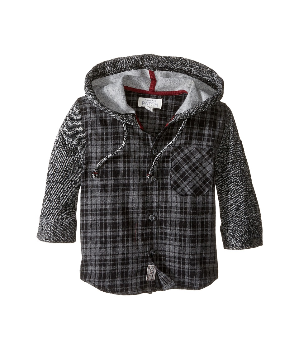 Pumpkin Patch Kids - Grey Check Hooded Shirt (Infant/Toddler/Little Kids/Big Kids) (Caviar) Boy's Clothing