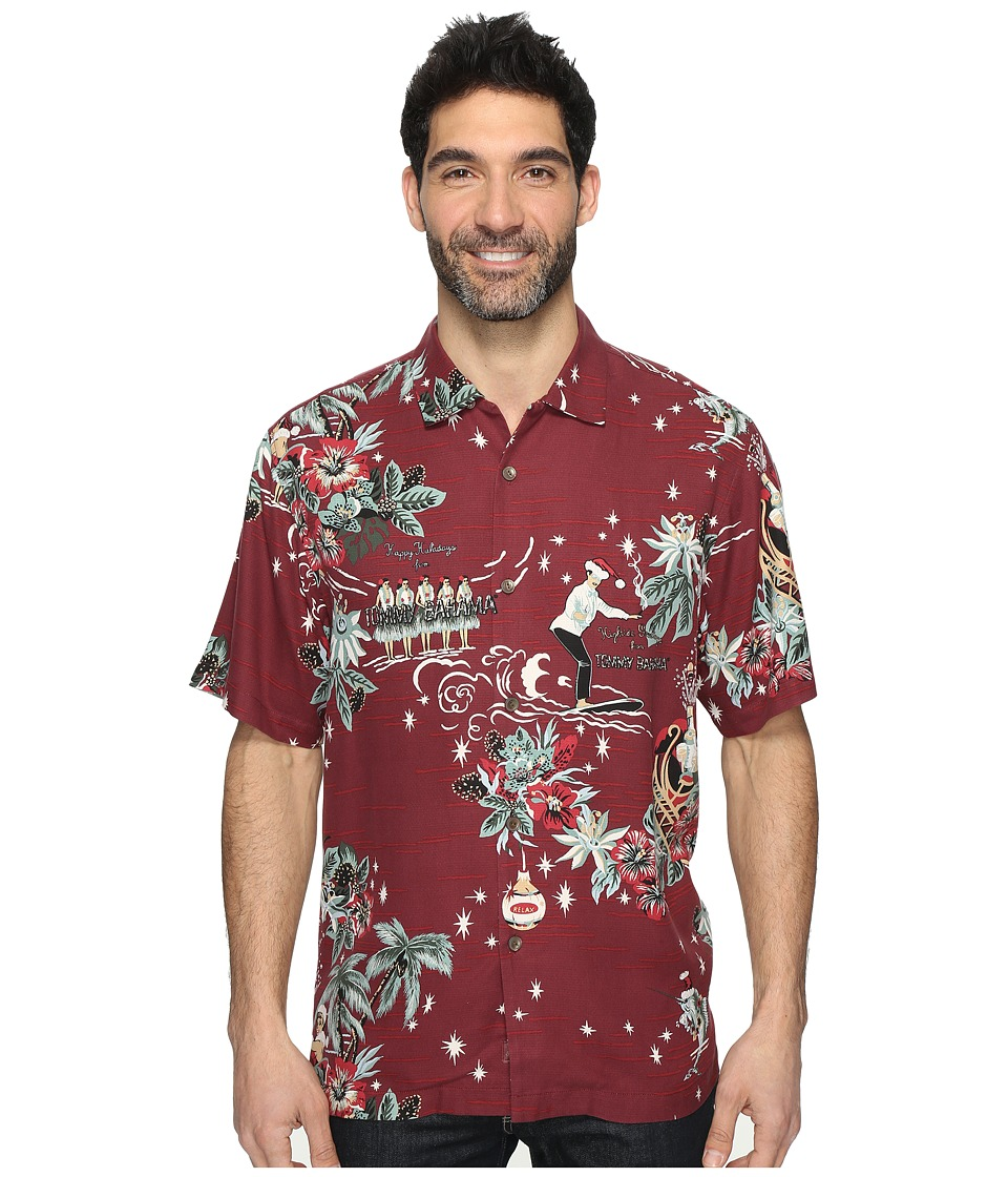 Tommy Bahama - Merry Kitchmas Short Sleeve Woven Shirt (Aged Claret) Men's Short Sleeve Button Up