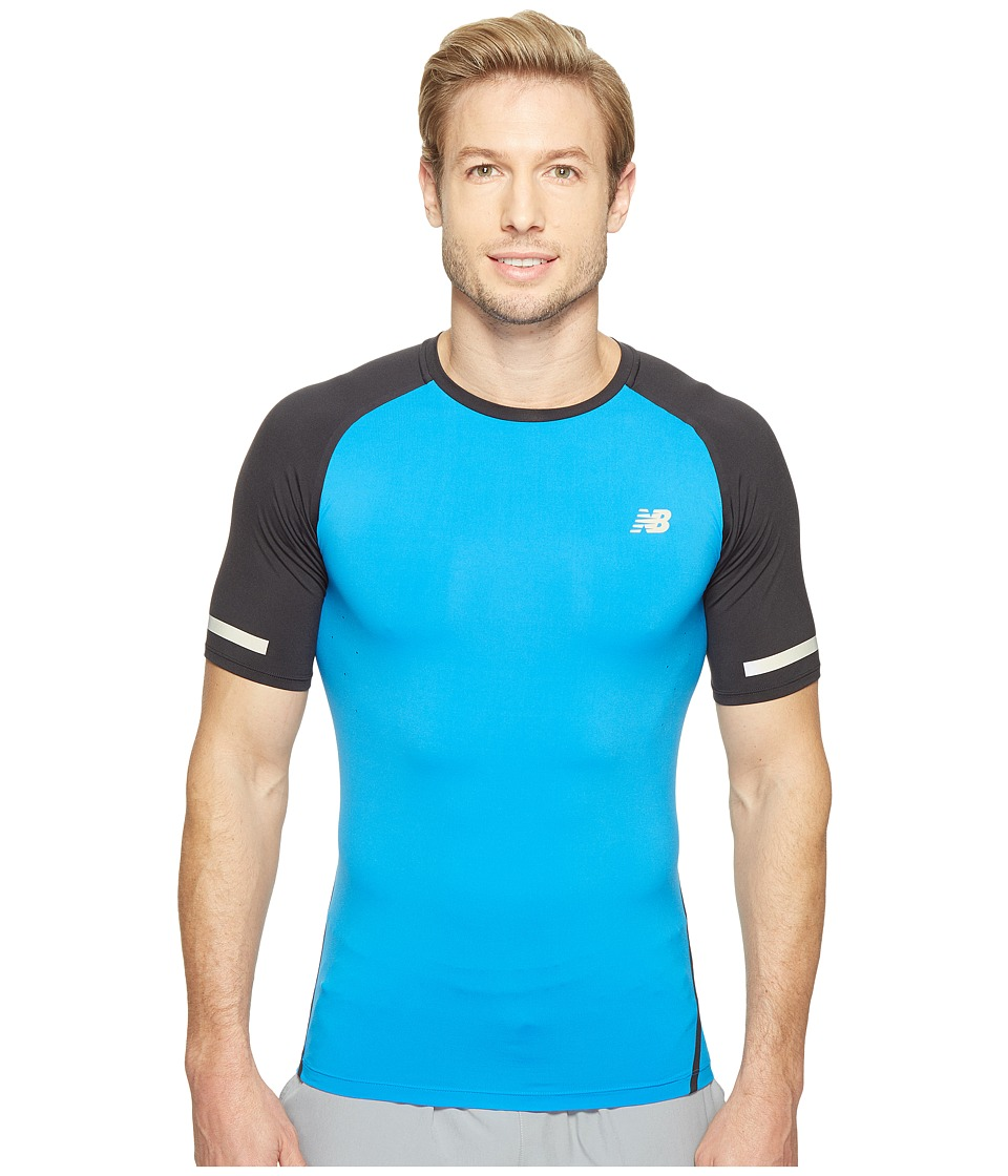 New Balance - Trinamic Short Sleeve Top (Electric Blue/Black) Men's Short Sleeve Pullover