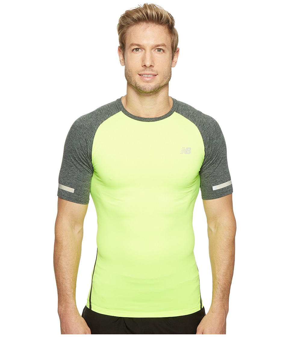 New Balance - Trinamic Short Sleeve Top (Hi-Lite/Heather Charcoal) Men's Short Sleeve Pullover