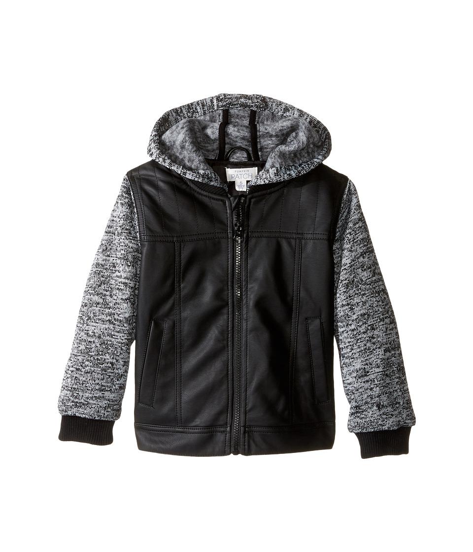 Pumpkin Patch Kids - Hooded PU Jacket (Infant/Toddler/Little Kids) (Caviar) Boy's Coat