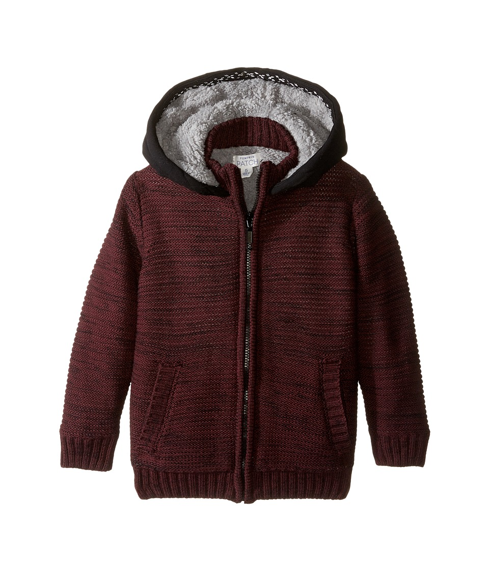Pumpkin Patch Kids - Lined Hooded Cardigan (Infant/Toddler/Little Kids) (Black Cherry) Boy's Sweater