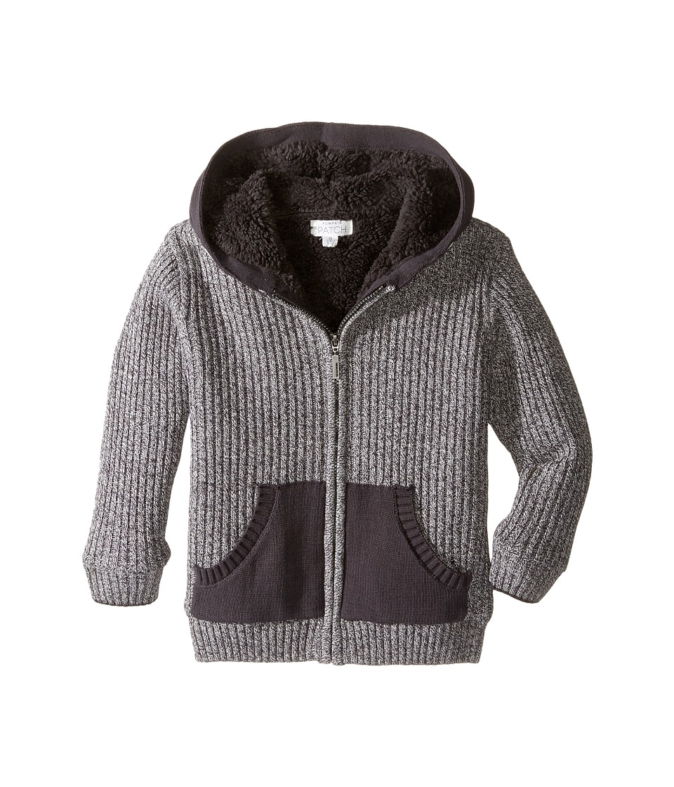 Pumpkin Patch Kids - Ribbed Lined Zip Front Cardigan (Infant/Toddler/Little Kids) (Charcoal Marle) Boy's Sweater