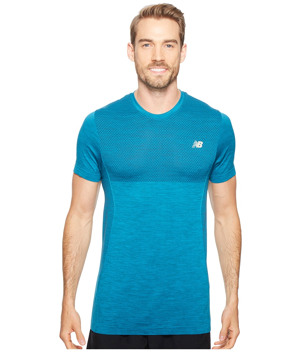 New Balance - M4M Seamless Short Sleeve Top (Deep Ozone Blue Heather) Men's Short Sleeve Pullover