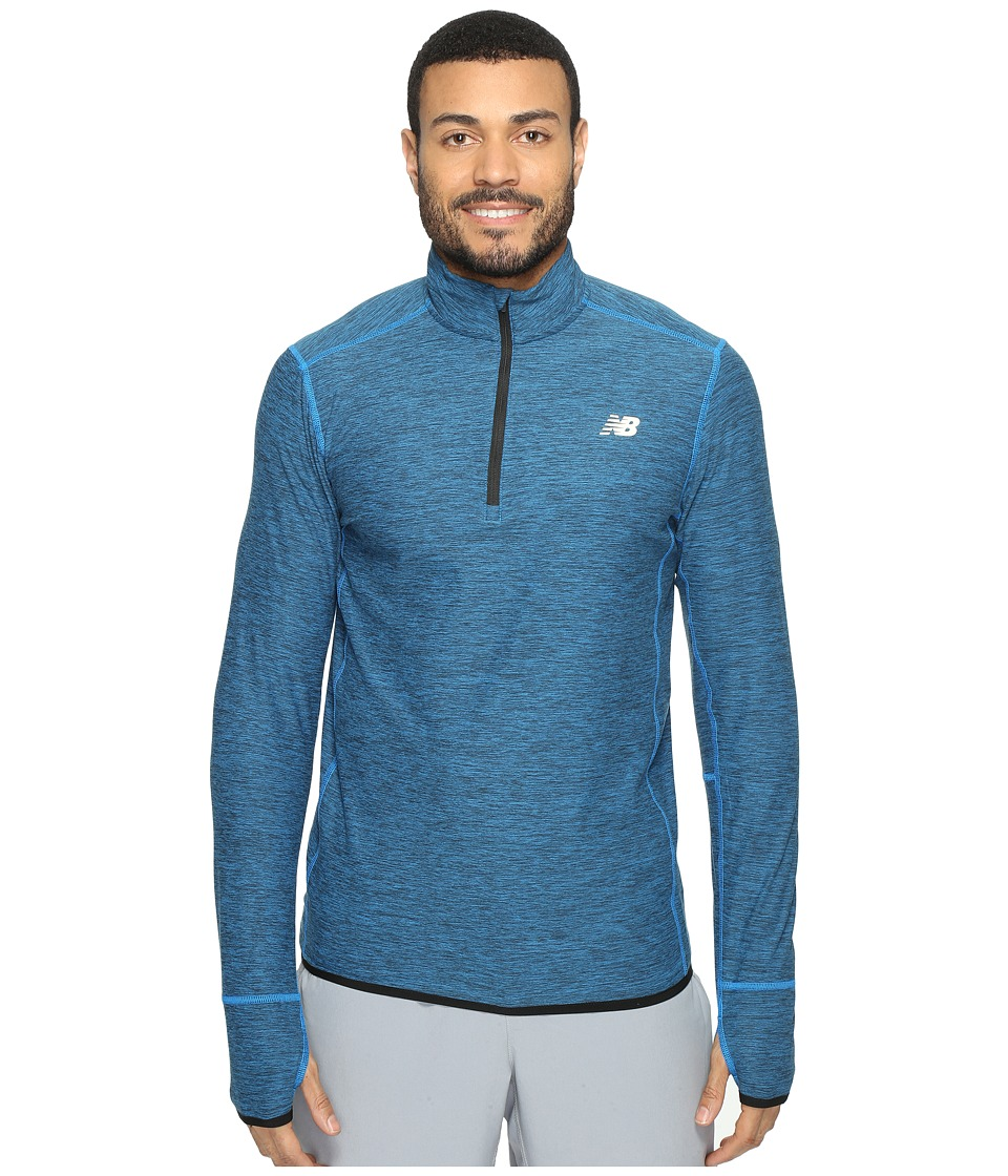 New Balance - Transit Quarter Zip Top (Electric Blue Heather) Men's Long Sleeve Pullover
