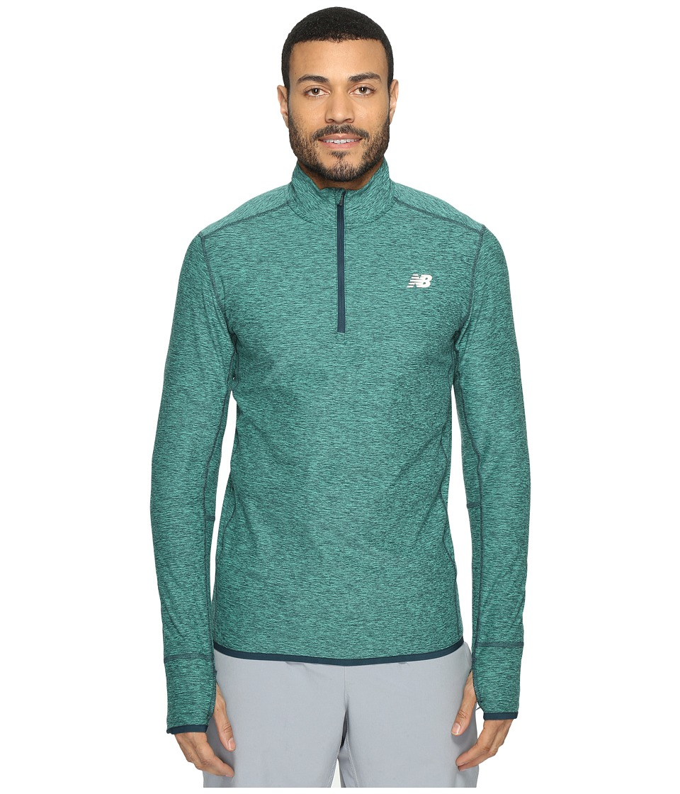 New Balance - Transit Quarter Zip Top (Vivid Jade Heather) Men's Long Sleeve Pullover